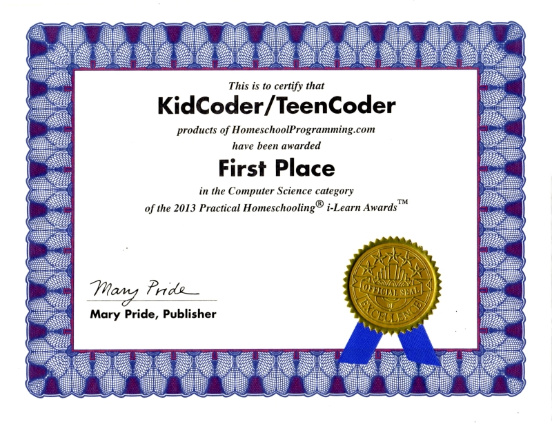 Awards CompuScholar – First Place Award Certificate