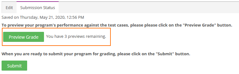Student Preview Grade button